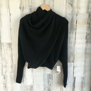 Free People Sugar Wrap Black Sweater XS
